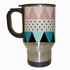 Triangle Wave Chevron Grey Travel Mugs (white)