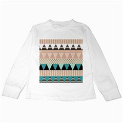 Triangle Wave Chevron Grey Kids Long Sleeve T Shirts