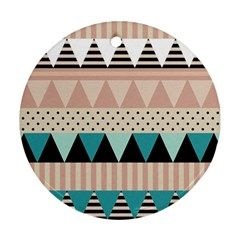 Triangle Wave Chevron Grey Round Ornament (two Sides)