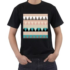 Triangle Wave Chevron Grey Men s T Shirt (black)