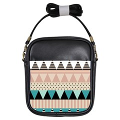 Triangle Wave Chevron Grey Girls Sling Bags
