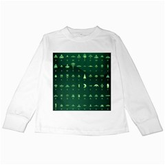 Ufo Alien Green Kids Long Sleeve T Shirts