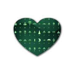 Ufo Alien Green Heart Coaster (4 Pack)