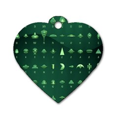Ufo Alien Green Dog Tag Heart (two Sides)