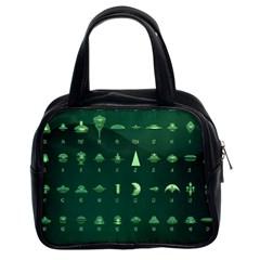 Ufo Alien Green Classic Handbags (2 Sides)