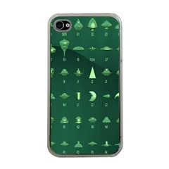 Ufo Alien Green Apple Iphone 4 Case (clear)