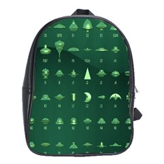 Ufo Alien Green School Bags (xl)
