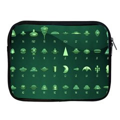Ufo Alien Green Apple Ipad 2/3/4 Zipper Cases