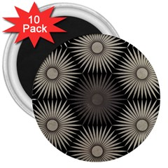 Sunflower Black White 3  Magnets (10 Pack)