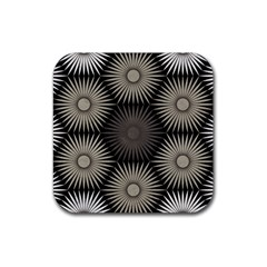 Sunflower Black White Rubber Square Coaster (4 Pack)