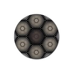 Sunflower Black White Rubber Round Coaster (4 Pack)