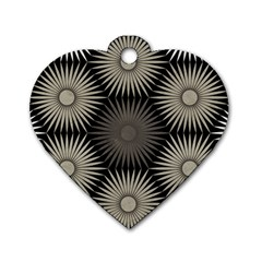 Sunflower Black White Dog Tag Heart (two Sides) by Alisyart
