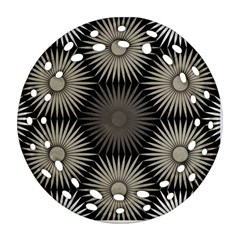 Sunflower Black White Ornament (round Filigree) by Alisyart