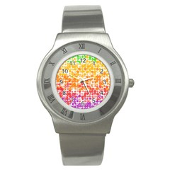 Spots Paint Color Green Yellow Pink Purple Stainless Steel Watch by Alisyart
