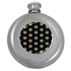 Background For Scrapbooking Or Other With Flower Patterns Round Hip Flask (5 Oz) by Nexatart