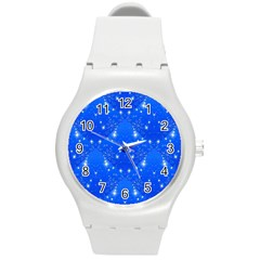 Background For Scrapbooking Or Other With Snowflakes Patterns Round Plastic Sport Watch (m)