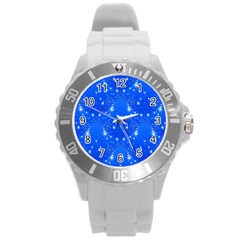 Background For Scrapbooking Or Other With Snowflakes Patterns Round Plastic Sport Watch (l) by Nexatart