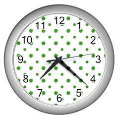 Saint Patrick Motif Pattern Wall Clocks (silver)  by dflcprints