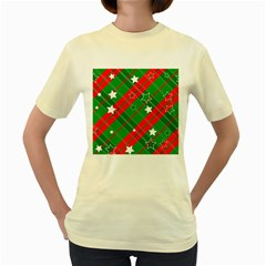 Background Abstract Christmas Women s Yellow T Shirt
