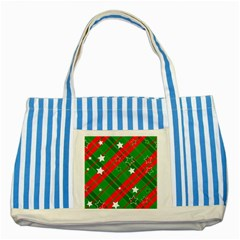 Background Abstract Christmas Striped Blue Tote Bag