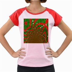 Background Abstract Christmas Pattern Women s Cap Sleeve T Shirt