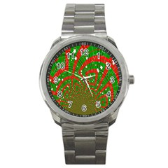 Background Abstract Christmas Pattern Sport Metal Watch