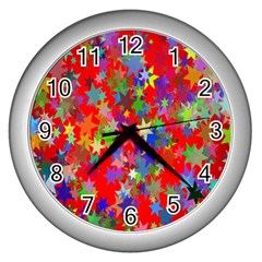 Background Celebration Christmas Wall Clocks (silver)  by Nexatart