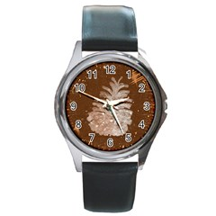Background Christmas Tree Christmas Round Metal Watch