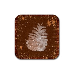 Background Christmas Tree Christmas Rubber Coaster (square)