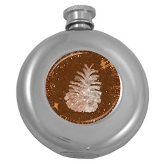 Background Christmas Tree Christmas Round Hip Flask (5 Oz) by Nexatart