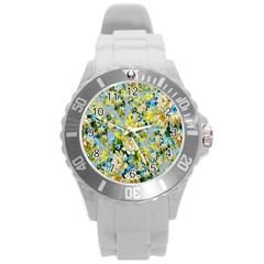 Background Backdrop Patterns Round Plastic Sport Watch (l)