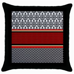 Background Damask Red Black Throw Pillow Case (black)
