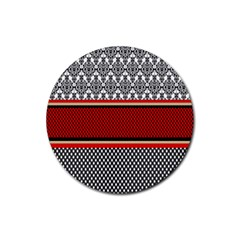 Background Damask Red Black Rubber Round Coaster (4 Pack)