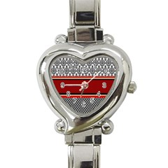 Background Damask Red Black Heart Italian Charm Watch