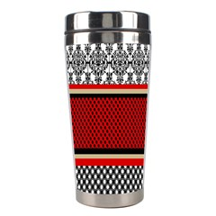 Background Damask Red Black Stainless Steel Travel Tumblers by Nexatart