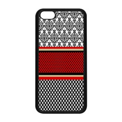Background Damask Red Black Apple Iphone 5c Seamless Case (black) by Nexatart
