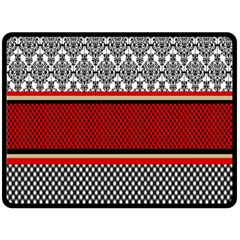Background Damask Red Black Double Sided Fleece Blanket (large)