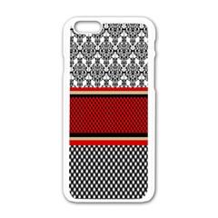 Background Damask Red Black Apple Iphone 6/6s White Enamel Case by Nexatart