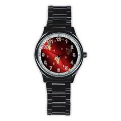 Background Fabric Stainless Steel Round Watch by Nexatart
