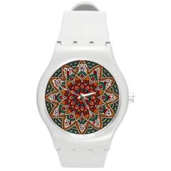 Background Metallizer Pattern Art Round Plastic Sport Watch (m)