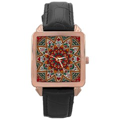 Background Metallizer Pattern Art Rose Gold Leather Watch