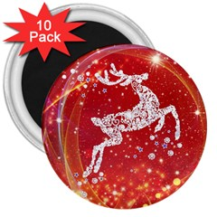 Background Reindeer Christmas 3  Magnets (10 Pack)  by Nexatart