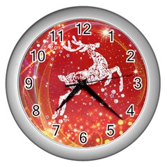 Background Reindeer Christmas Wall Clocks (silver)  by Nexatart