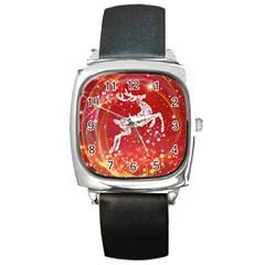 Background Reindeer Christmas Square Metal Watch