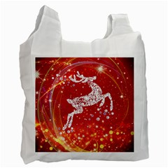 Background Reindeer Christmas Recycle Bag (one Side)