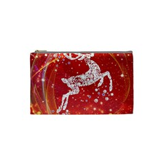 Background Reindeer Christmas Cosmetic Bag (small)