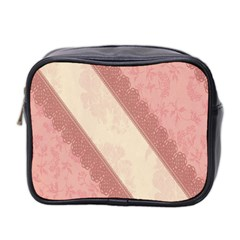 Background Pink Great Floral Design Mini Toiletries Bag 2 Side