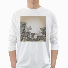 Background Retro Abstract Pattern White Long Sleeve T Shirts