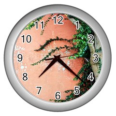 Background Stone Wall Pink Tree Wall Clocks (silver)  by Nexatart