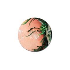 Background Stone Wall Pink Tree Golf Ball Marker (4 pack) by Nexatart